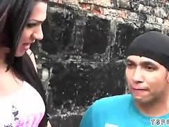 Brazilian tranny anal with spunk flow