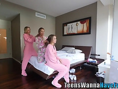 Slumber party legal age teenager plowed