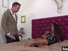 Perverted roxi takes care of his boner