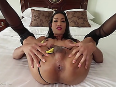 Transsexual natty yellow bikini pov