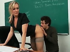 Super hot blond MILF teacher shows tight body