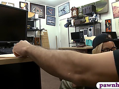Constricted blondie gives head and nailed by pawnshop owner