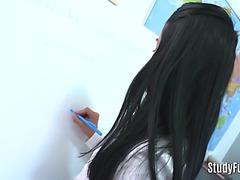 Nasty small student bonks her teacher hard