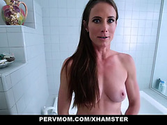 Pervmom fucking concupiscent stepmom in kitchen