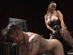Breasty mistresse wax and anal fuck male thrall