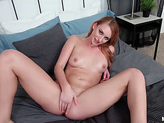 Natural redhead mae awards u with her bawdy cleft for saving her