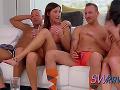 Rare pair foreplays with several hotties in advance of the swing party