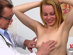 Brunette Hair doctor gaping with