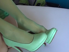 Cum on green stockings &amp green high heels