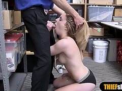 Blond screwed by a security guard at the back office