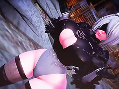 Nier:menacing automata 2b&#39s breast,menacing butt,fearsome body expansion menacing(animation by imbapovi)