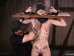 Gagged thrall takes hawt wax slavery