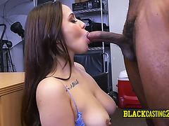 Breasty hottie sits and rides on excited directors large wang