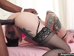 Breasty transsexual mouths and bareback drilled by large darksome knob