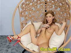 Glamorous fit and breasty redhead exposed on web camera