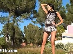 Watch brunette slovak in shoes peeing