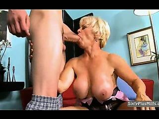 Porno Video of Blonde Gilf Cocksucker
