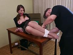 Slut boss tied to her desk