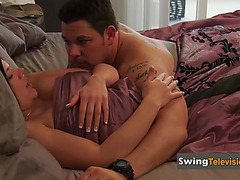 Chrissy steams up pink room as that babe disrobes down during foreplay