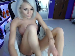 Obscene web camera golden-haired hair model playing with her consummate body