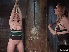 Hawt arse lesbo whipped in dungeon