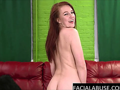 Redhead beauty mouth destroyed &amp degraded