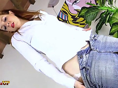 Redhead in nylons sucks her toes and gives a footjob