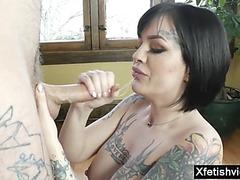 Large boobs preggy cuckold and jizz flow