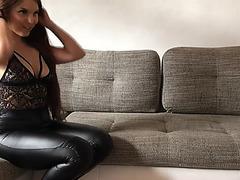 Gymbunny takes jizz flow on her leather a-hole