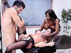 Sexy lad bonks teacher and assistat