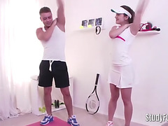 Tennis hottie receives her muff screwed