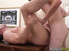 Homo mormon receives ejaculation