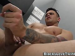 Twink acquires dark boyz cum