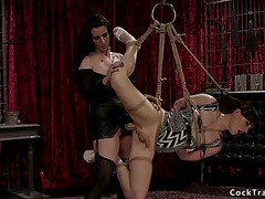 Dark Brown anal bonks tgirl in slavery