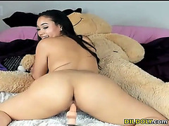 Lascivious beauty likes to ride dildos on web camera live