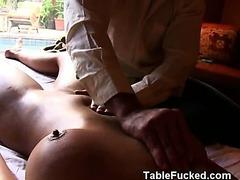 Very Hot Blonde Girl Sucks Dick On Massage Table