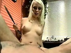 Man picking on blonde mistress gets caught and tied and perverted by dirty nasty mistress