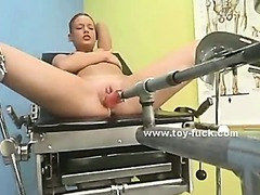 Babes fuck eachother with large fucking machines and toys in lesbian penetrations