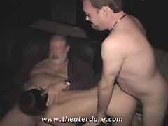 Brunette skank rents out her holes to random men in a dirty porn theater