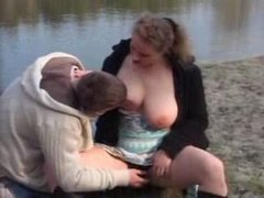 Amateur - Young dude and busty  woman outdoor
