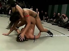 Wrestling contest end bad for lesbian slut getting fingered and destroyed by dirty experienced slut