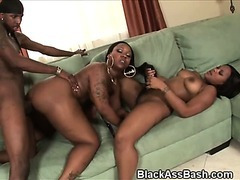 Big Titty And Big Ass Black Girls Take Turns With Cock