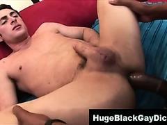 Nasty interracial gay gets fucked