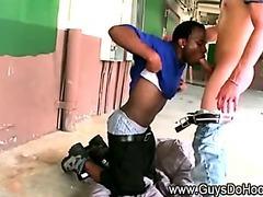 Black gang member sucks white dick for money