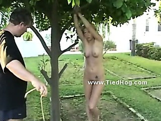 Porno Video of Short Haired Babe Tied Like A Hog Very Tight In Ropes Gets Undressed By Kinky Man And Used