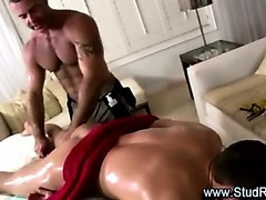 Gay masseur rims and uses dildo on straight client