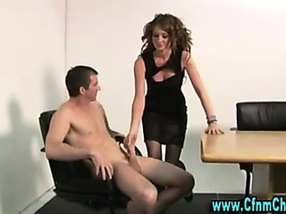 Porno Video of Stockinged Cfnm Slut Takes Over Cock