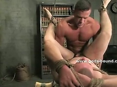 Ex military gay pervert binds in ropes man tormenting him in extreme bdsm sex spanking his ass