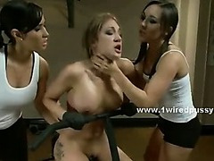 Babes in locker room experiment electric sex in lesbian wild and dirty fuck videoclip with strapon