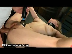 Spread tied up blonde anal fucked and whipped